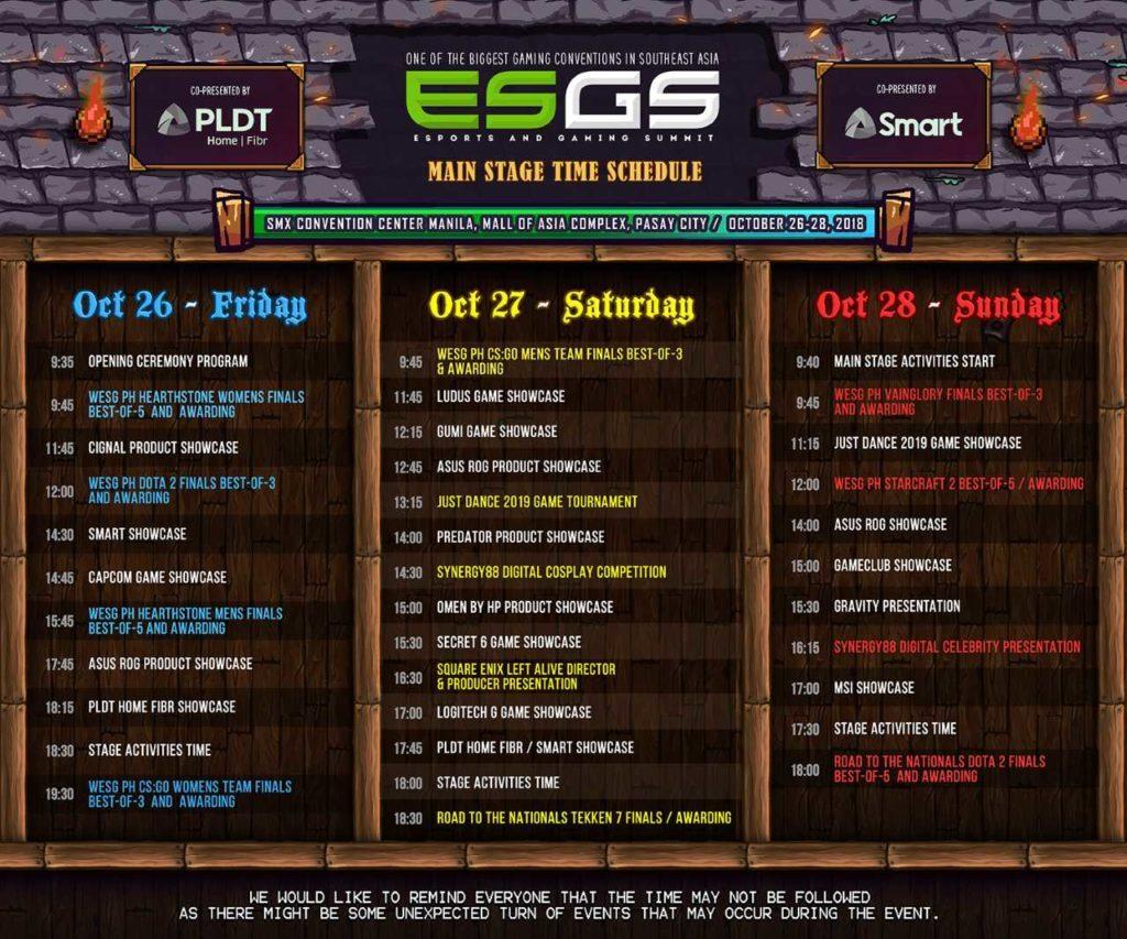 ESGS 2018 Schedule
