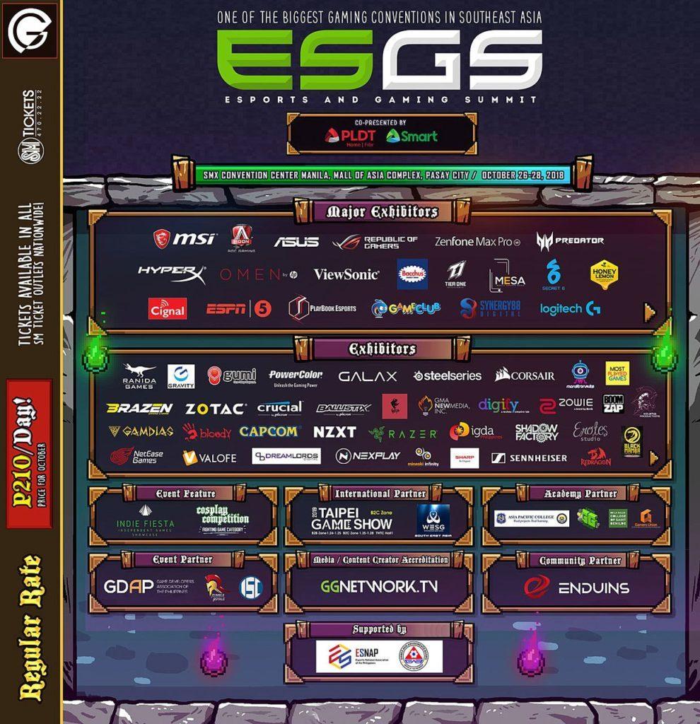ESGS 2018 announcement SUMMARY Major Exhibitor and Exhibitors